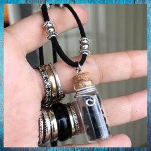 Onyx chips glass bottle charm fairy dust necklace